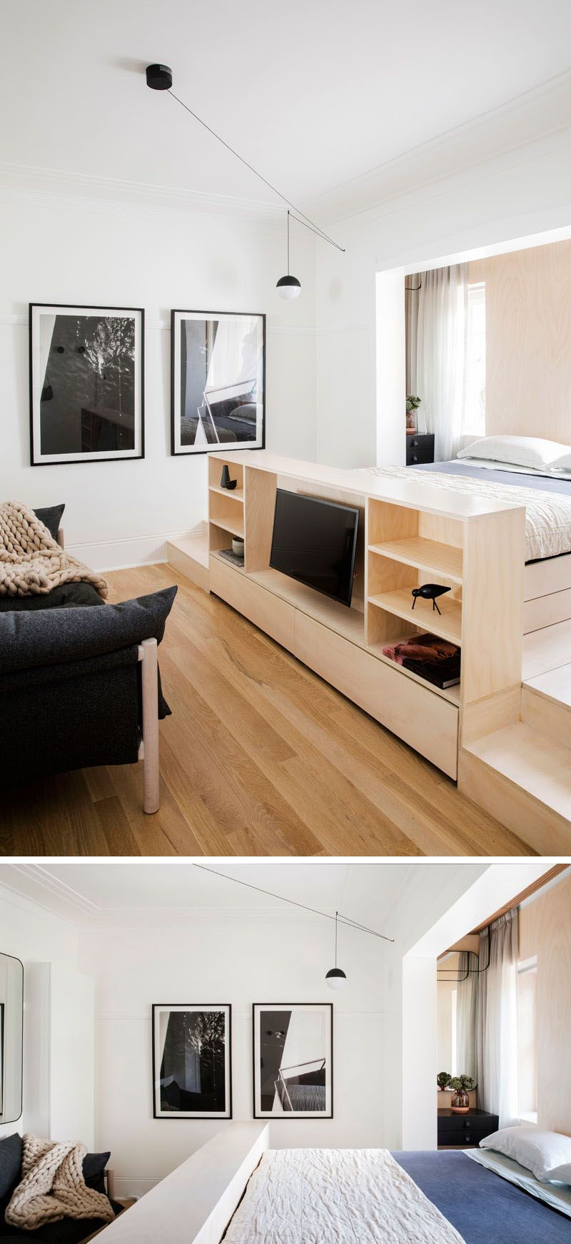 The Main Room In This Small Apartment Is Home To Both Living Area And Sleeping A Custom Designed Platform Includes An Entertainment Unit