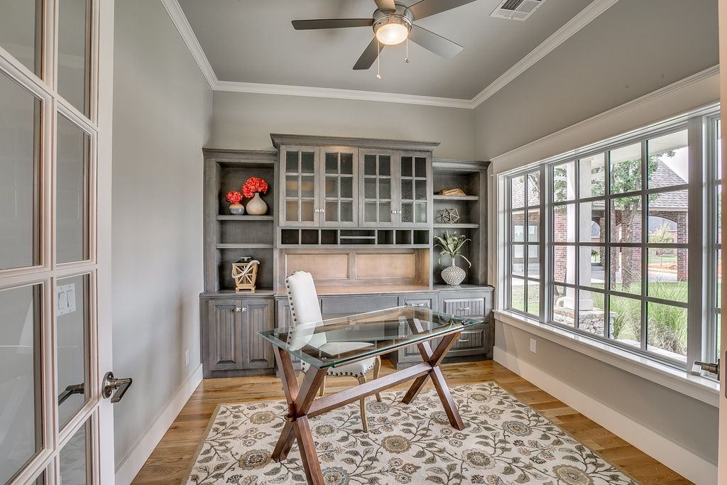 Great Traditional Home Office With Hardwood Floors Ceiling Fan