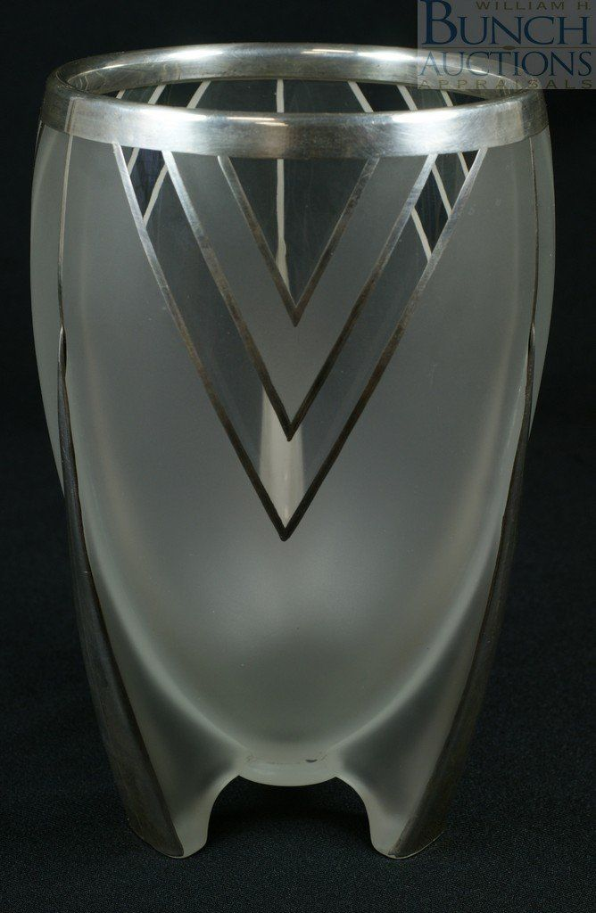 Sterling silver overlay art deco frosted glass vase