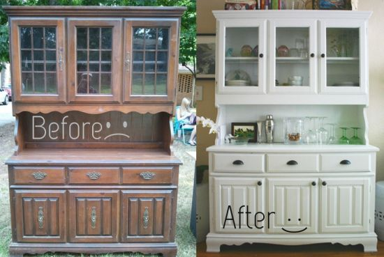 Furniture Ideas · Before And After Dining Room Hutch   Makes Those 70s  Style Hutches Seem Reasonable To Buy
