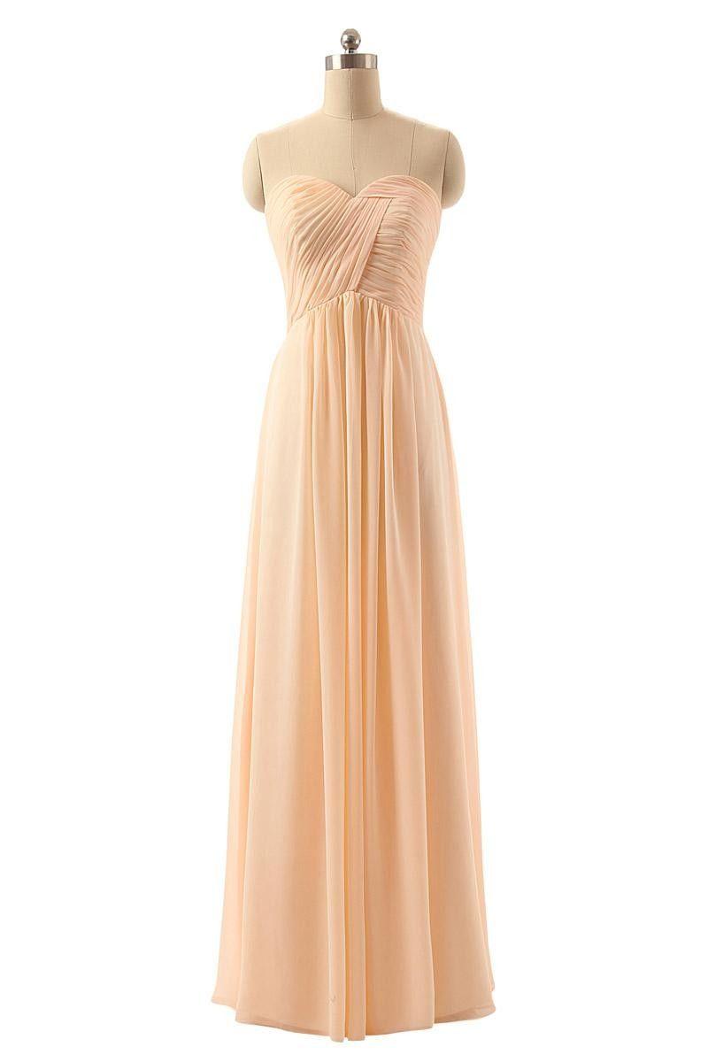 Elegant sweetheart crisscross pleat long bridesmaid dress long
