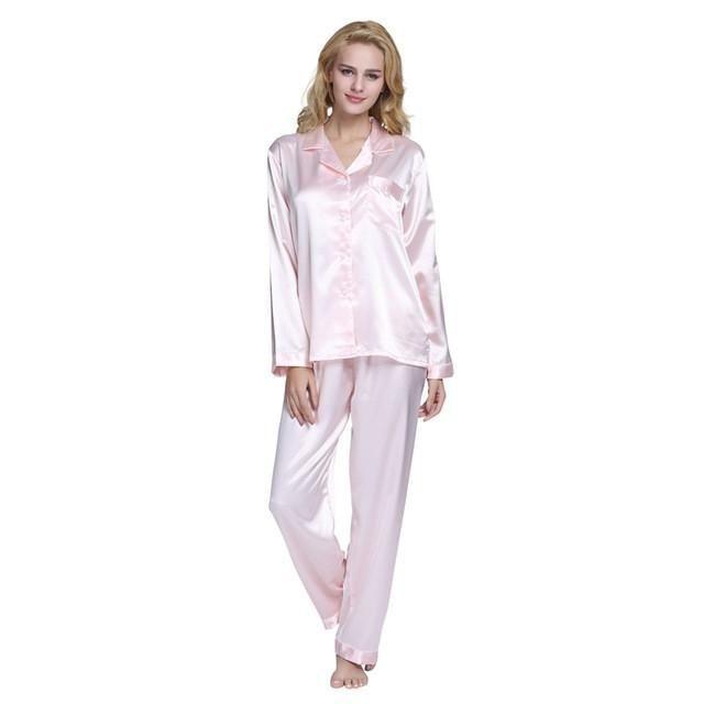 Tony Candice Hot Sale Couple Silk Pajamas Set Men Stain Nightgown Lovers  Sleepwear Slim Loungewear For Ladies Classic Style b125d26c8