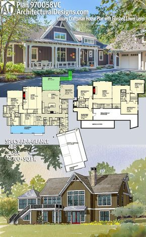 Plan VC Luxury Craftsman House Plan with Finished Lower Level