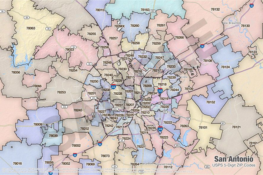 Zip Codes Bexar County | San Antonio in 2019 | United states map ...