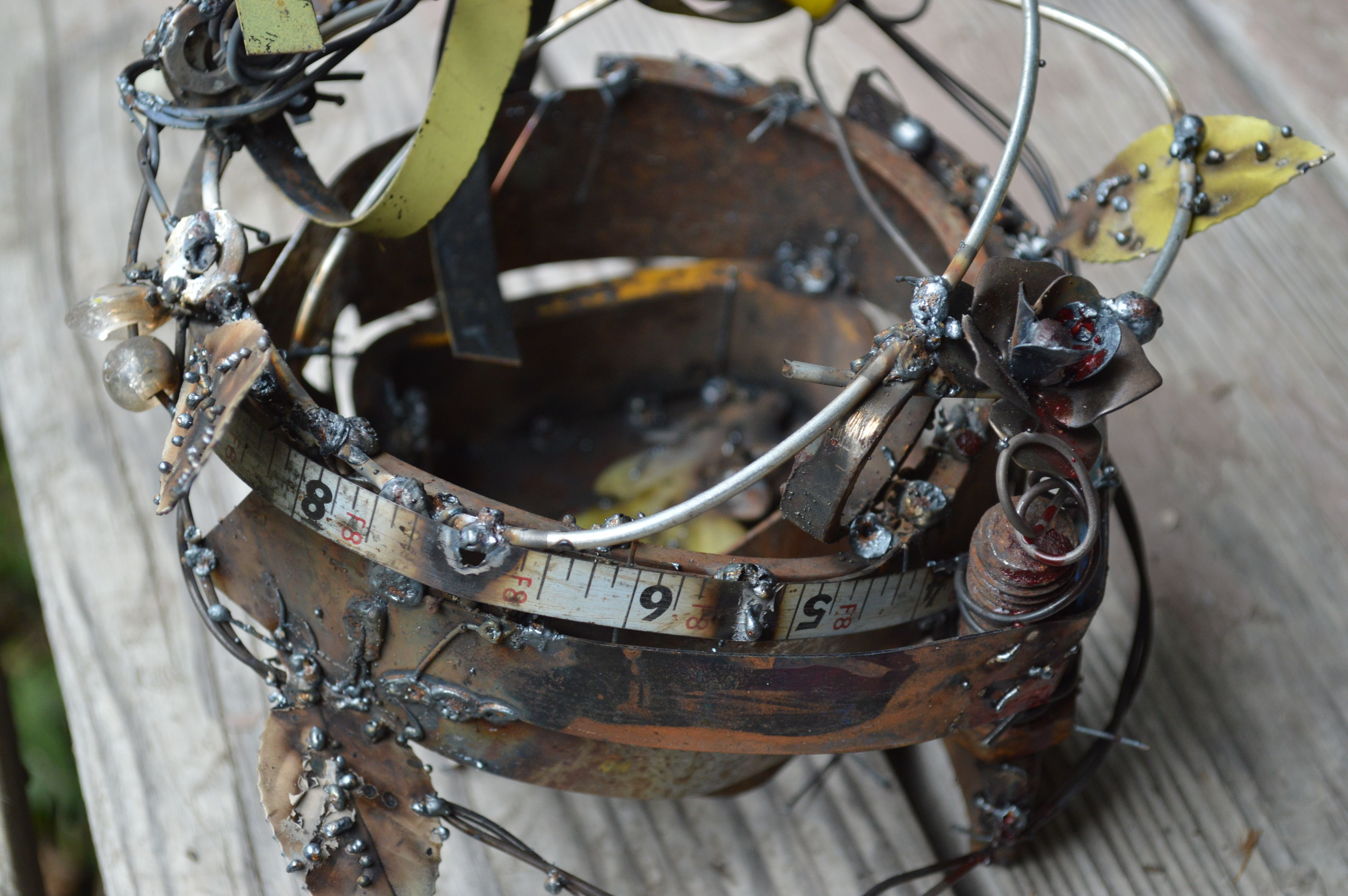 Bird Nest Hand Made With Recycled Scrap Metal