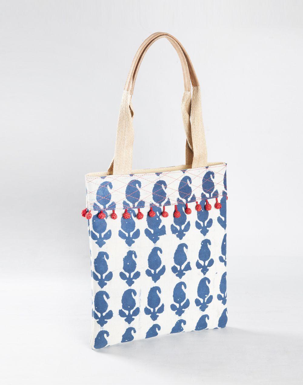 indigo  white  paisley  print  tassel  details  bag  women  fashion   accessories  Fabindia 0ac76945a89cd