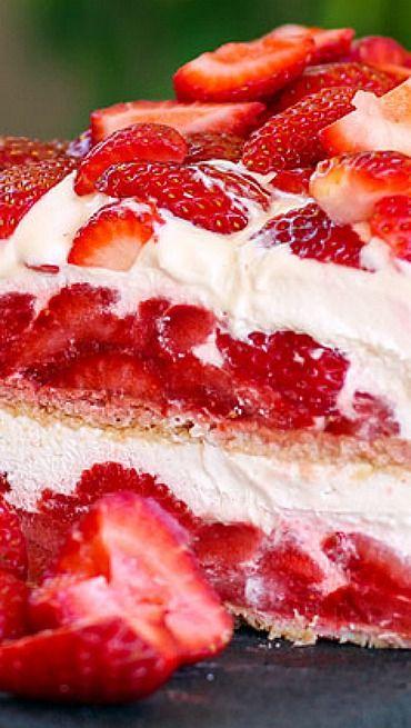 strawberry shortcake no bake ice box cake