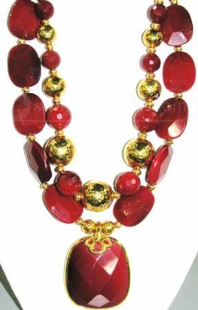 Jose Maria Barrera  Faceted Red Jasper Necklace
