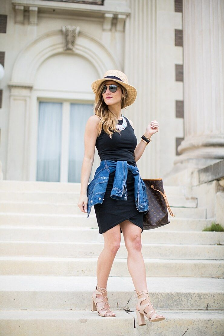 49fa865d6e Brighton the day styling summer hat with black tank dress and denim jacket  tied around the waist