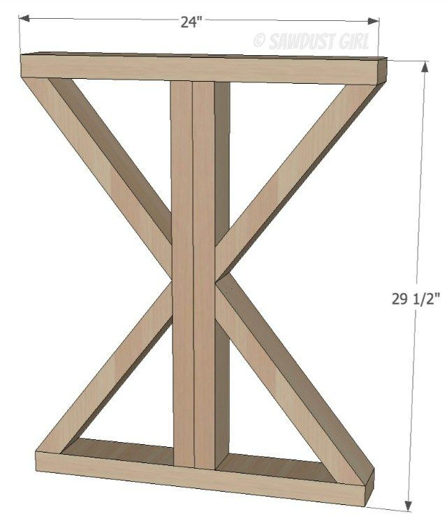 Diy X Base Dining Table Free Woodworking Plans Kitchen