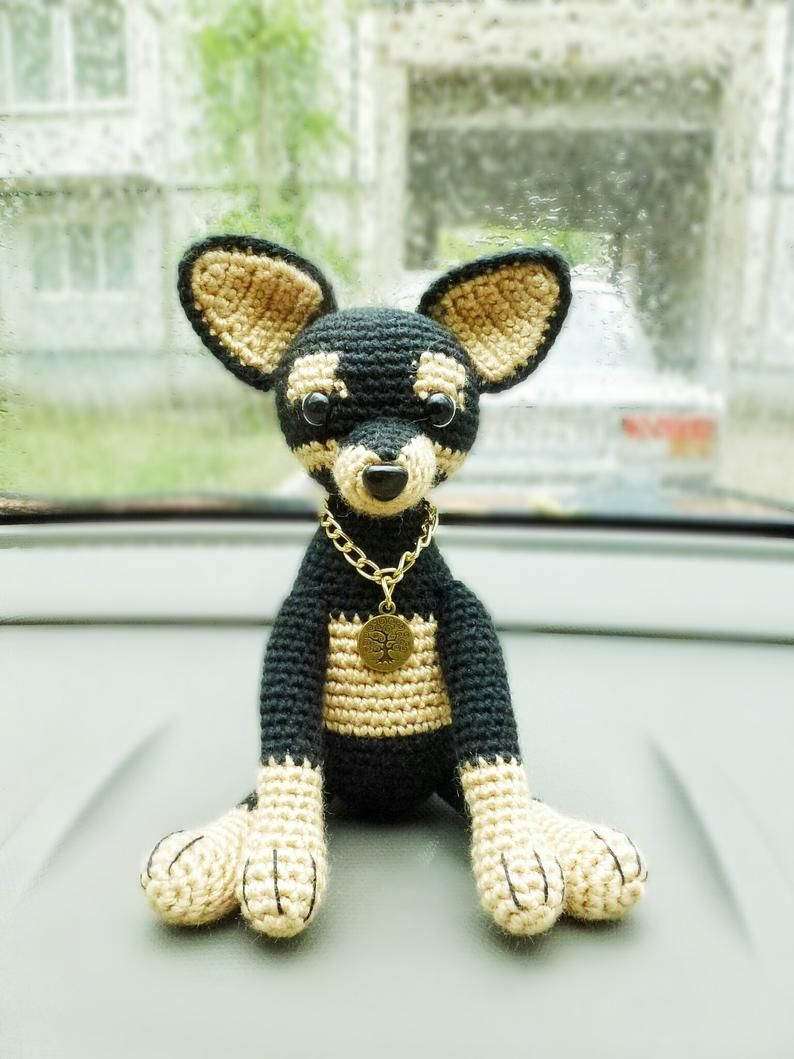 Mini Dogs Toy In The Car Cute Car Accessories Crochet Etsy
