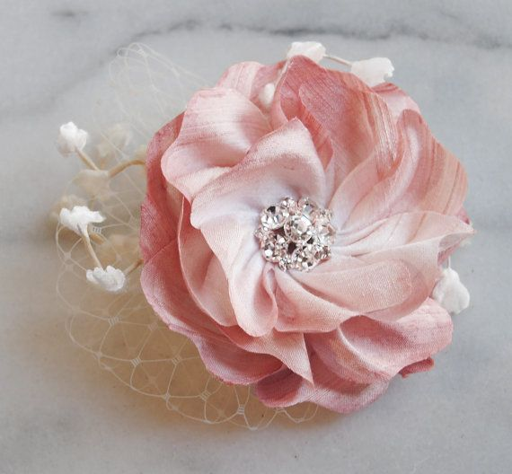 Blush Silk Hair Flower Bridal Fascinator with by TheRedMagnolia, $45.00