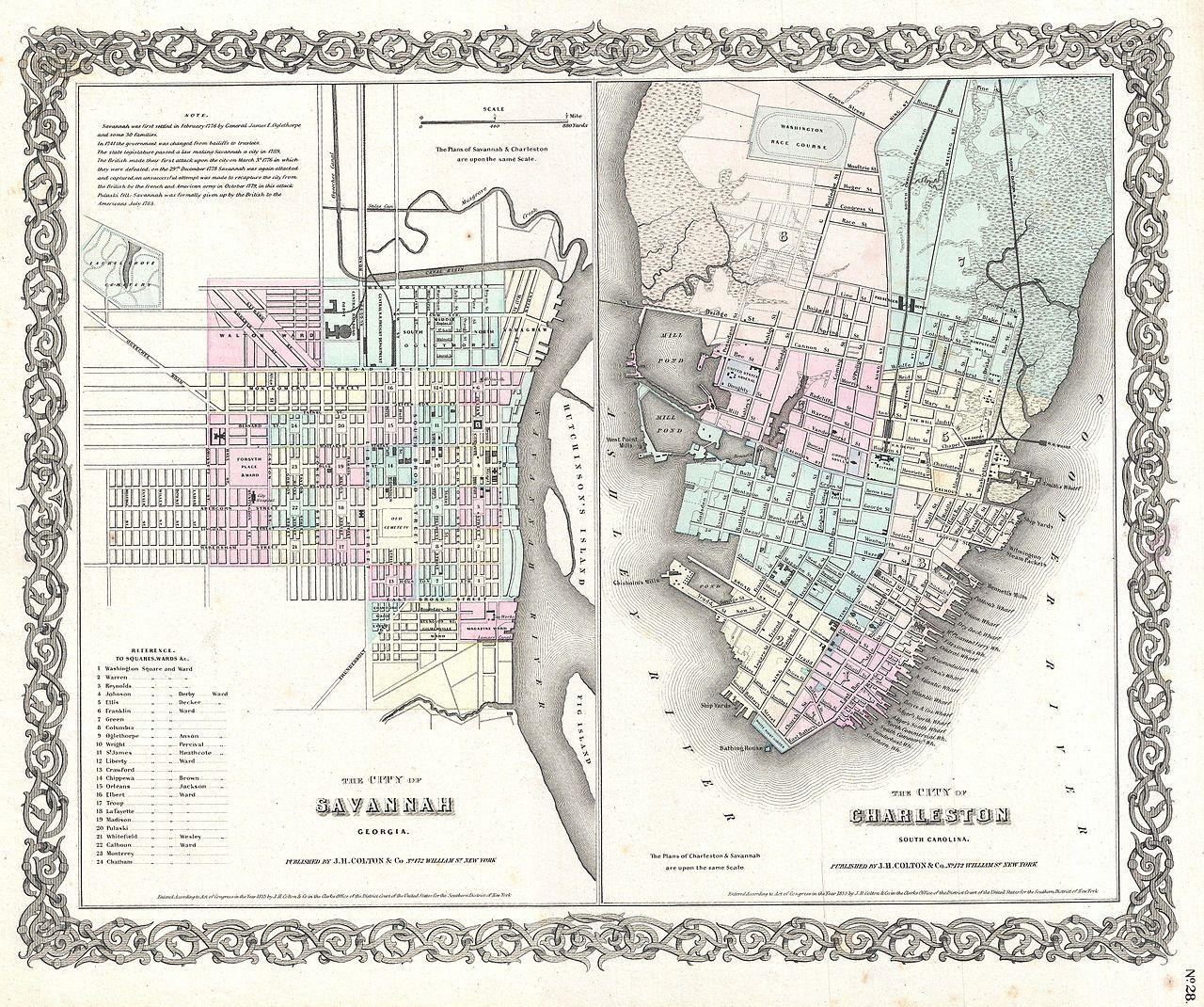 Colton map of Savannah and Charleston, 1855 Savannah ga