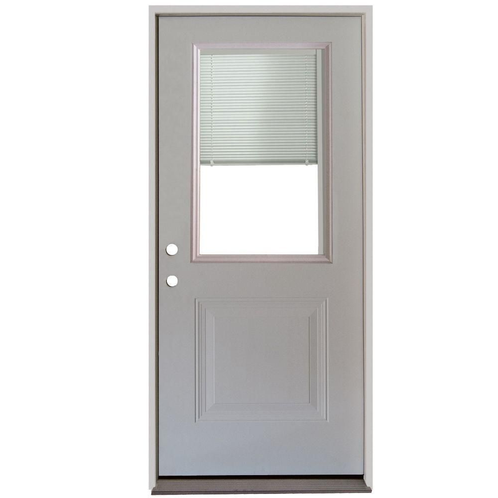 Steves Sons 32 In X 80 In 1 Panel 1 2 Lite Mini Blind Primed White Steel Prehung Front Door White Patina Mini Blinds Blinds Exterior Entry Doors