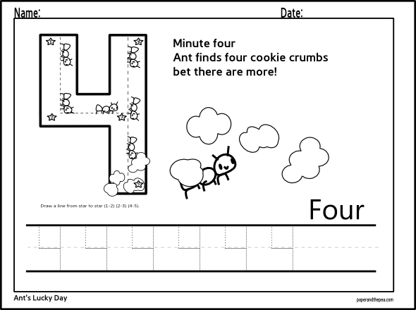 Number Four Tracing Worksheet Math Concepts Tracing