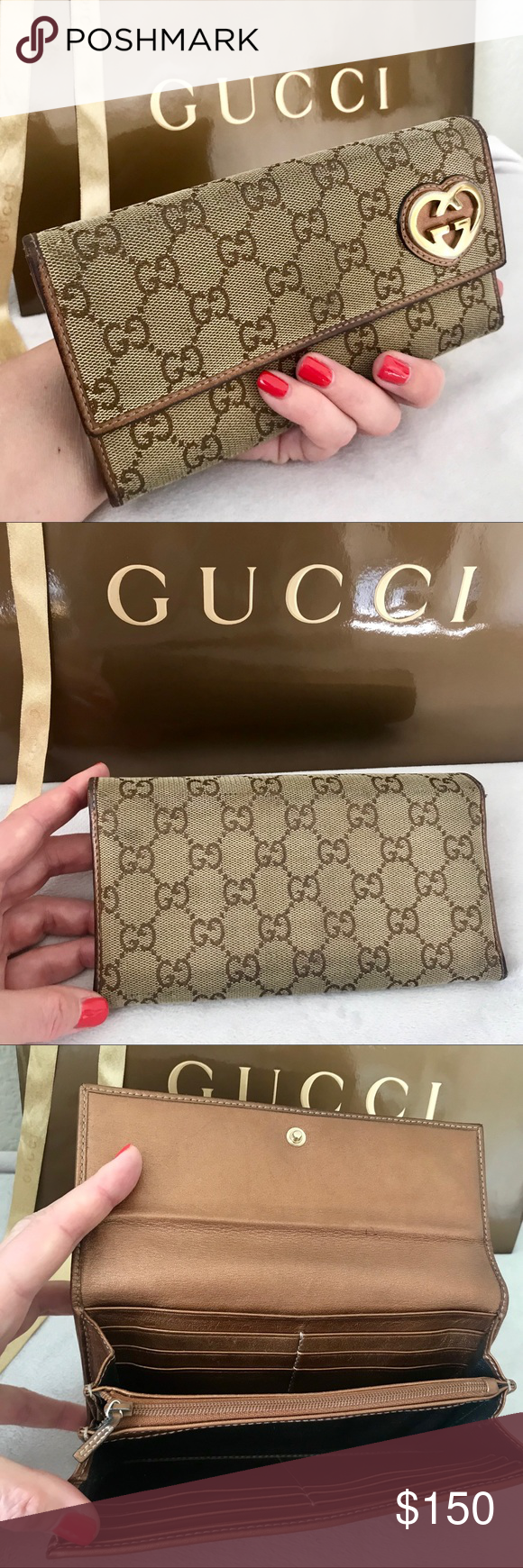 22d9ef18e4f7 GUCCI Lovely Heart GG Canvas &Leather Long Wallet Authentic Gucci GG Lovely  Heart Monogram Canvas and