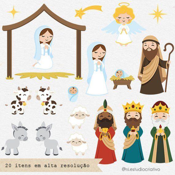 Nativity Scene Clipart Set Christmas Clipart Png And Vector Etsy Clip Art Christmas Clipart Nativity Scene