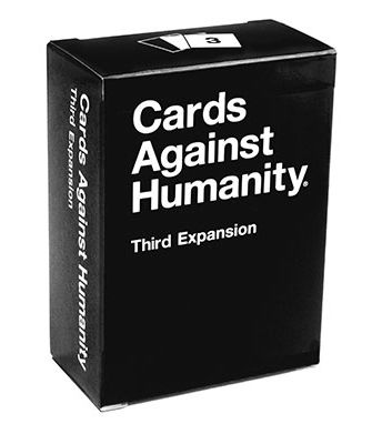 Cards Against Humanity presents The Third Expansion Pack, $10 via Store.CardsAgainstHumanity.Com --- Each expansion pack contains 75 white cards and 25 black cards, for a total of 100 brand new never-before-seen cards.