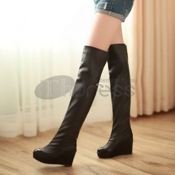 Wedge Boots-Soled high-heeled knee boots