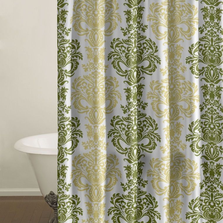 Beau Green And Yellow Damask Shower Curtain.