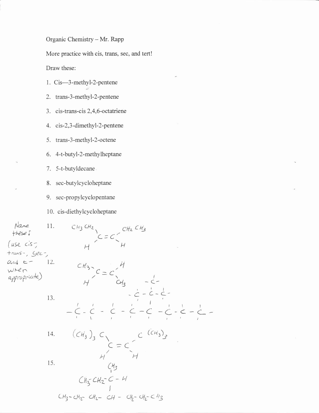 50 Organic Chemistry Worksheet With Answers In