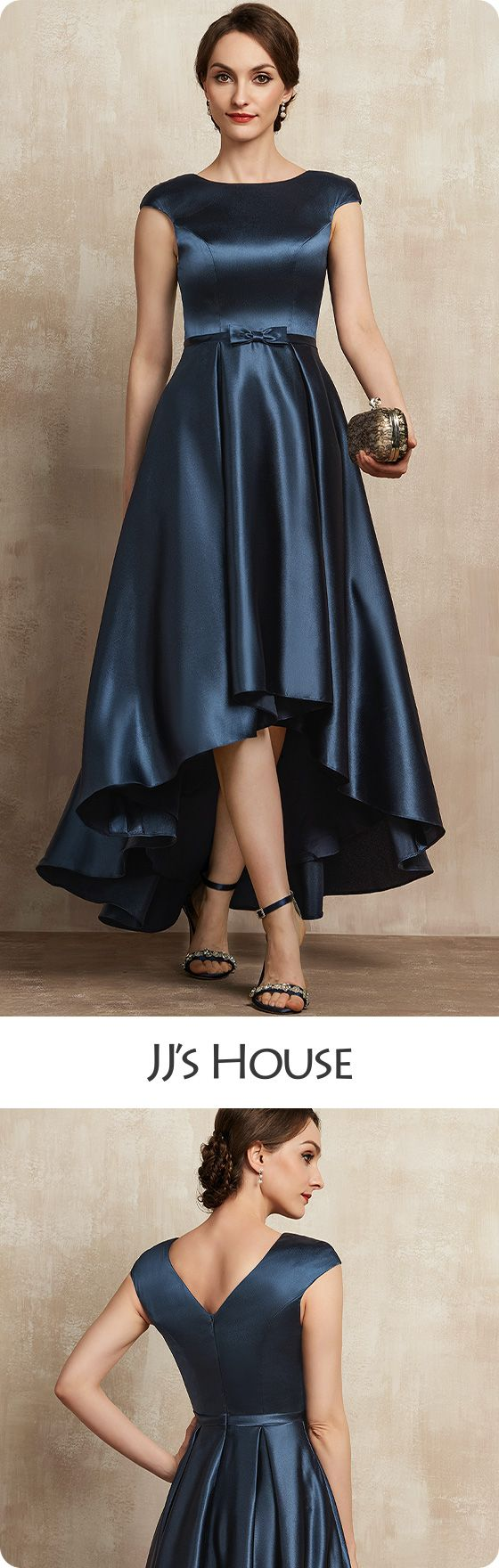 $96 A-Line Scoop Neck Asymmetrical Satin Mother of the Bride Dress + Bow(s) Pockets