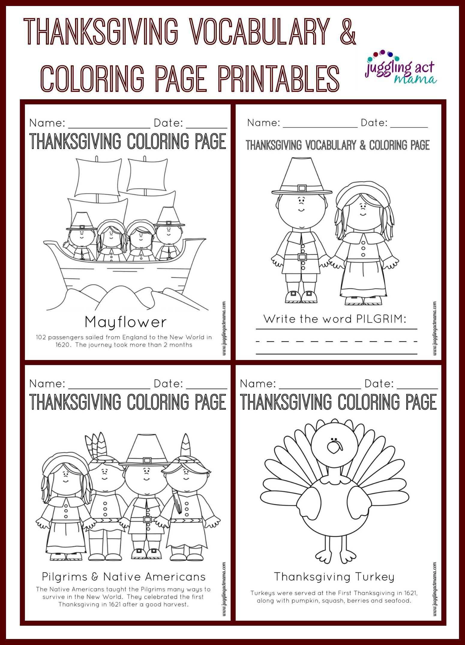 Thanksgiving Vocabulary And Coloring Page Printables Thanksgiving Coloring Pages Thanksgiving Vocabulary Printable Thanksgiving Crafts [ 2150 x 1550 Pixel ]