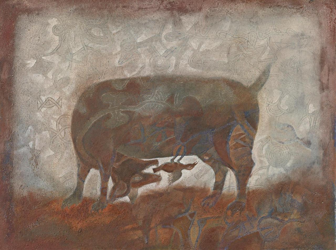 Francisco Toledo Mexican B 1940 El Perro De Colima Oil And Sand On Canvas 60 30 X 79 60 Cm 1975 Latin American Art American Art Surreal Art