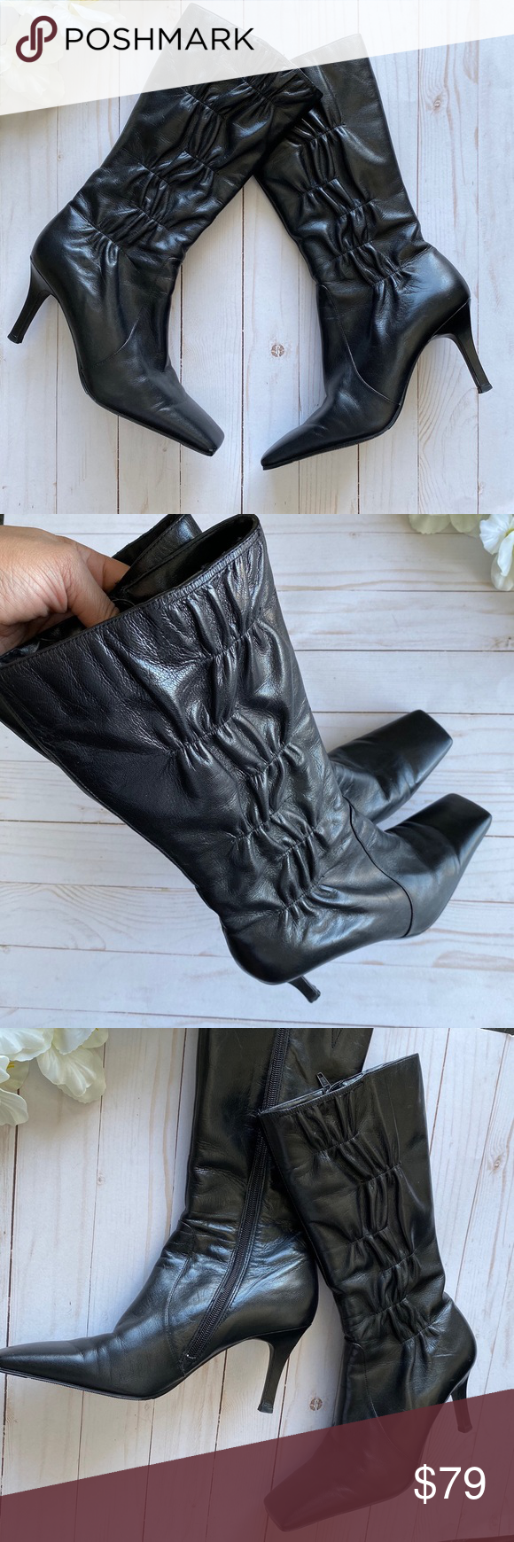 Black Leather Square Toe Boot ON TREND Ann Marino Genuine Black Leather Square Toe currently on trend Gathered Sides  Quilted Comfortable Heel Height 3 14 Great condition...