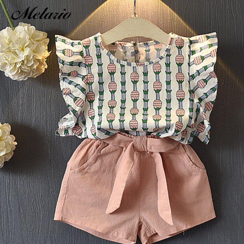 6bc3b3c0e Melario Clothing Sets 2018 Children Clothing Sleeveless Bow T-shirt+Print  Pants 2Pcs for Kids Clothing Sets Baby Girl suit