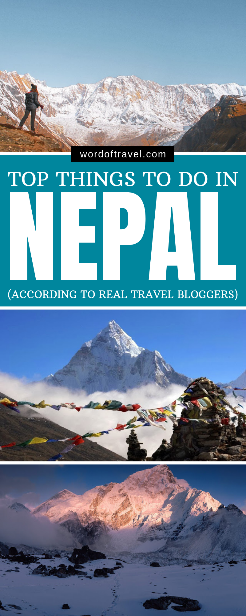 With its snow-capped mountains, fluttering prayer flags ...