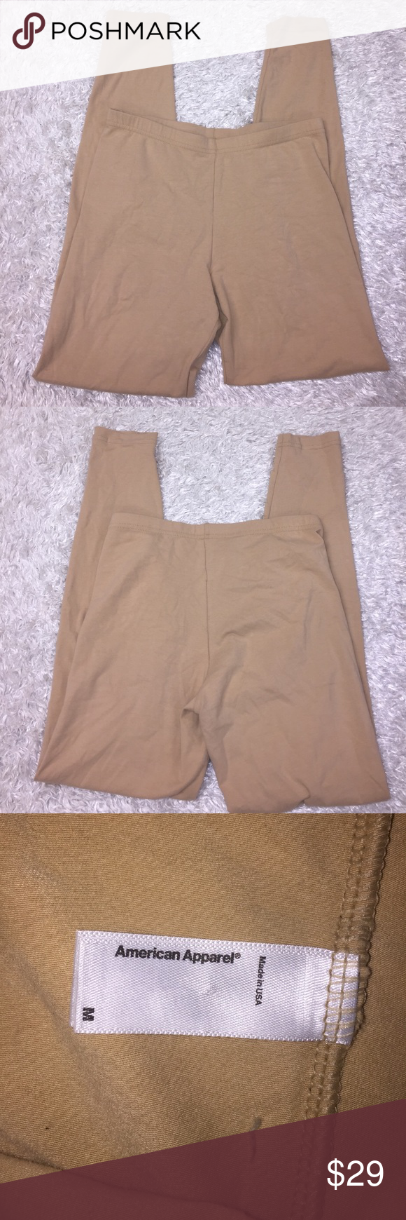 """American Apparel Cotton Leggings Size M, color is tan/nude. Inseam: 26"""". Rise: 9"""". Waist: 12 1/2"""". Feel free to ask any questions! No trades sorry, & offers thru the offer button only! 😊 American Apparel Pants Leggings"""
