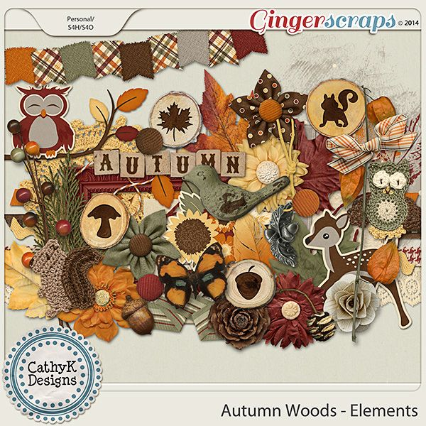 Autumn Woods Elements by Cathy K Designs http://store.gingerscraps.net/Autumn-Woods-Elements.html