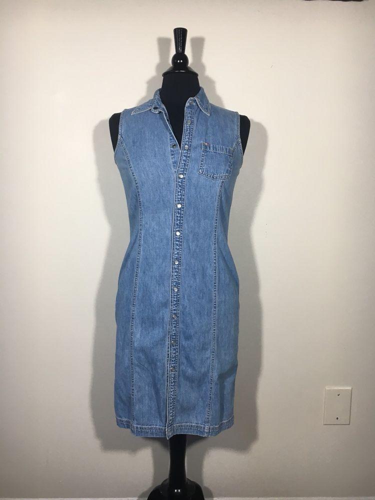 ecd4b4281a3c72  DenimDress TOMMY HILFIGER Denim Dress Size 4 Jean Dress Sleeveless Button  Down Snap Front - Denim Dress  12.50 (0 Bids) End Date  Wednesday  Nov-14-2018 ...