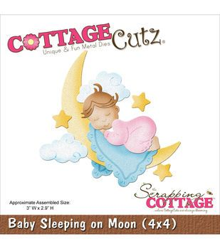 "CottageCutz Die 4""X4""-Baby Sleeping On Moon"