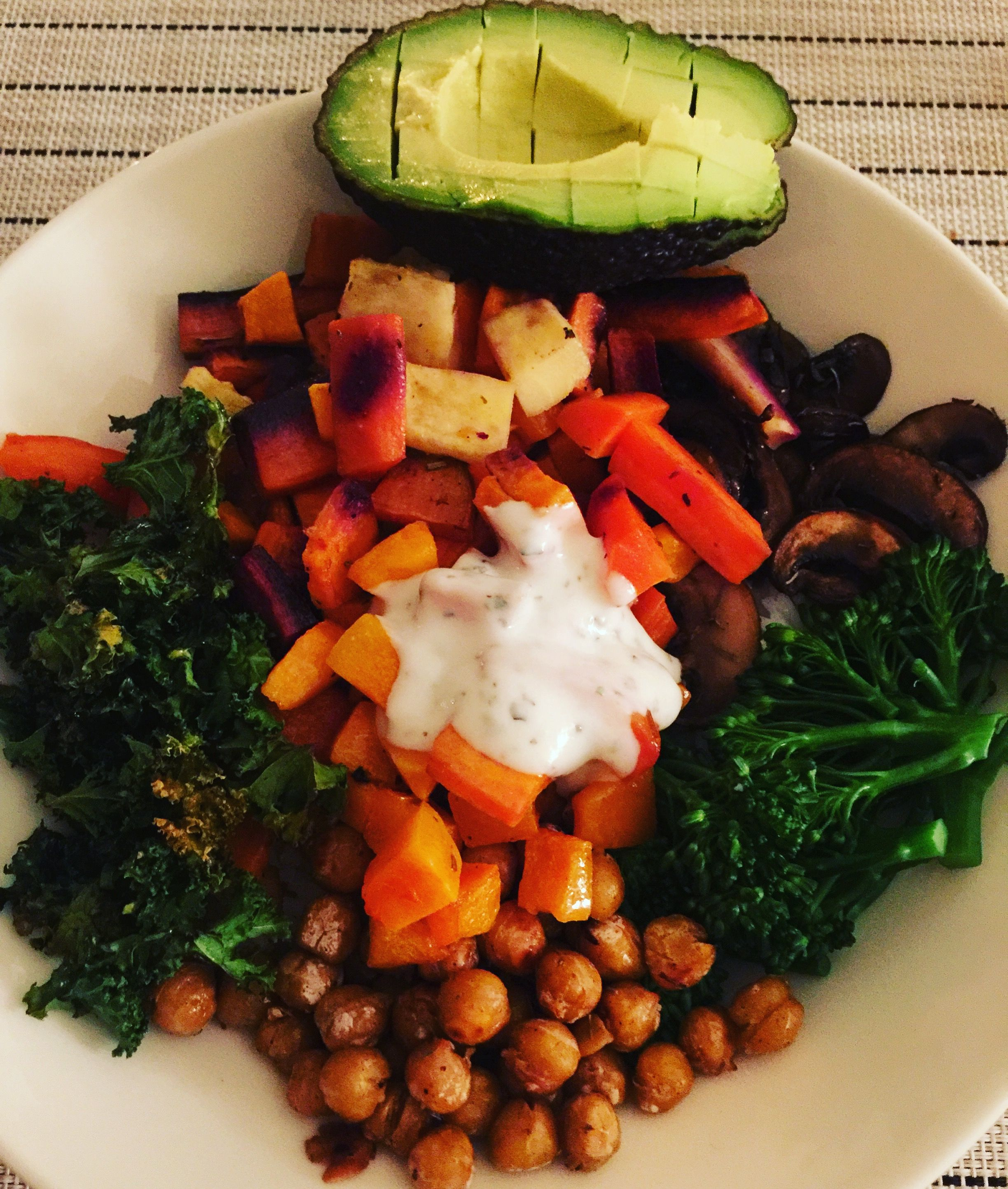 Buddha Bowl - Easy weeknight dinner, combine your bowl by choosing your grain (here; brown rice), protein (here; chickpeas), veg (here; what I had in the fridge, broccoli, carrots, avocado, mushrooom and kale). Then add a sauce of your choosing (here; minty yogurt dip). And voila, you're done!