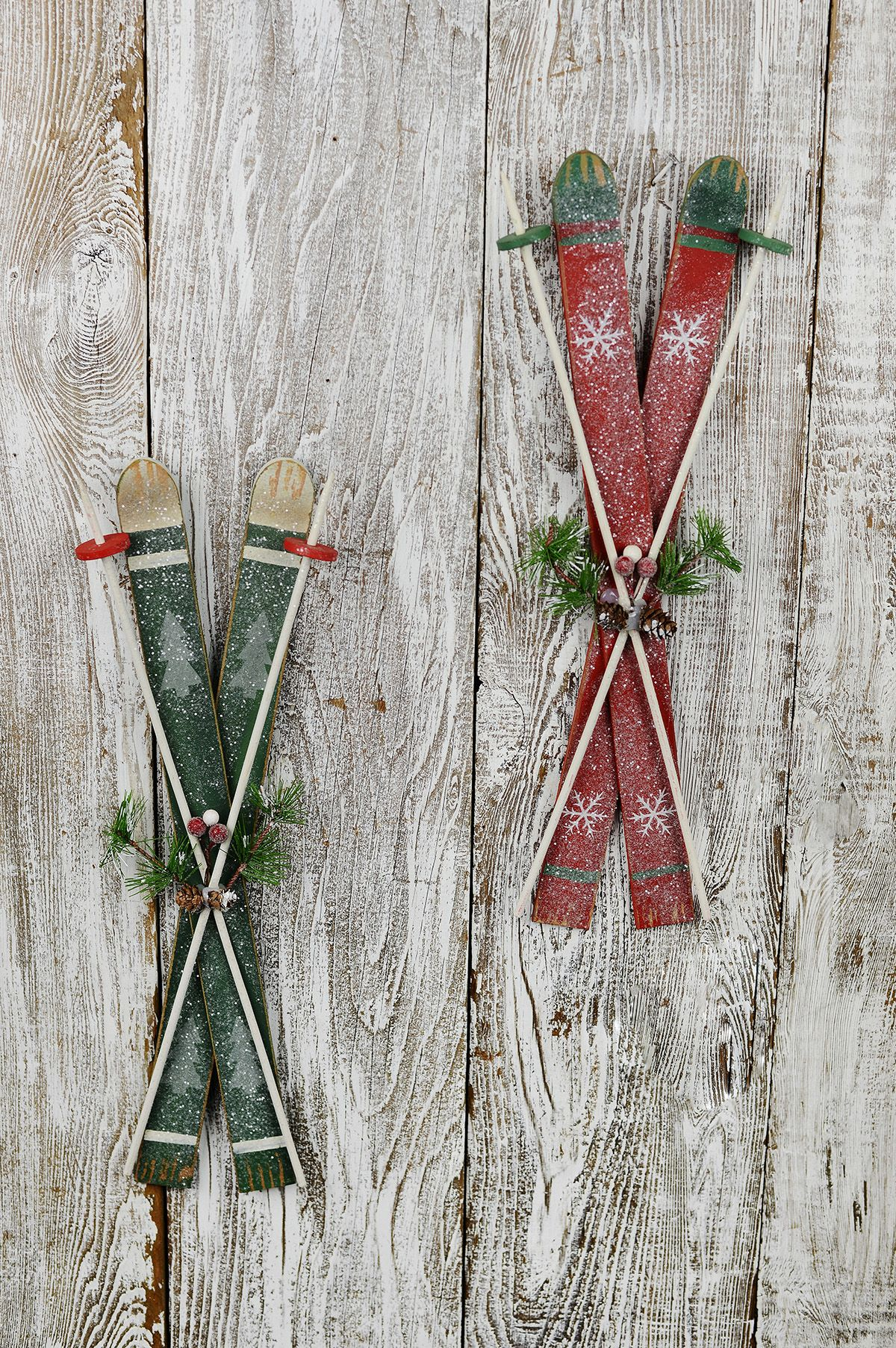 Decorative Wood Skis Christmas Mantel Decorations Christmas