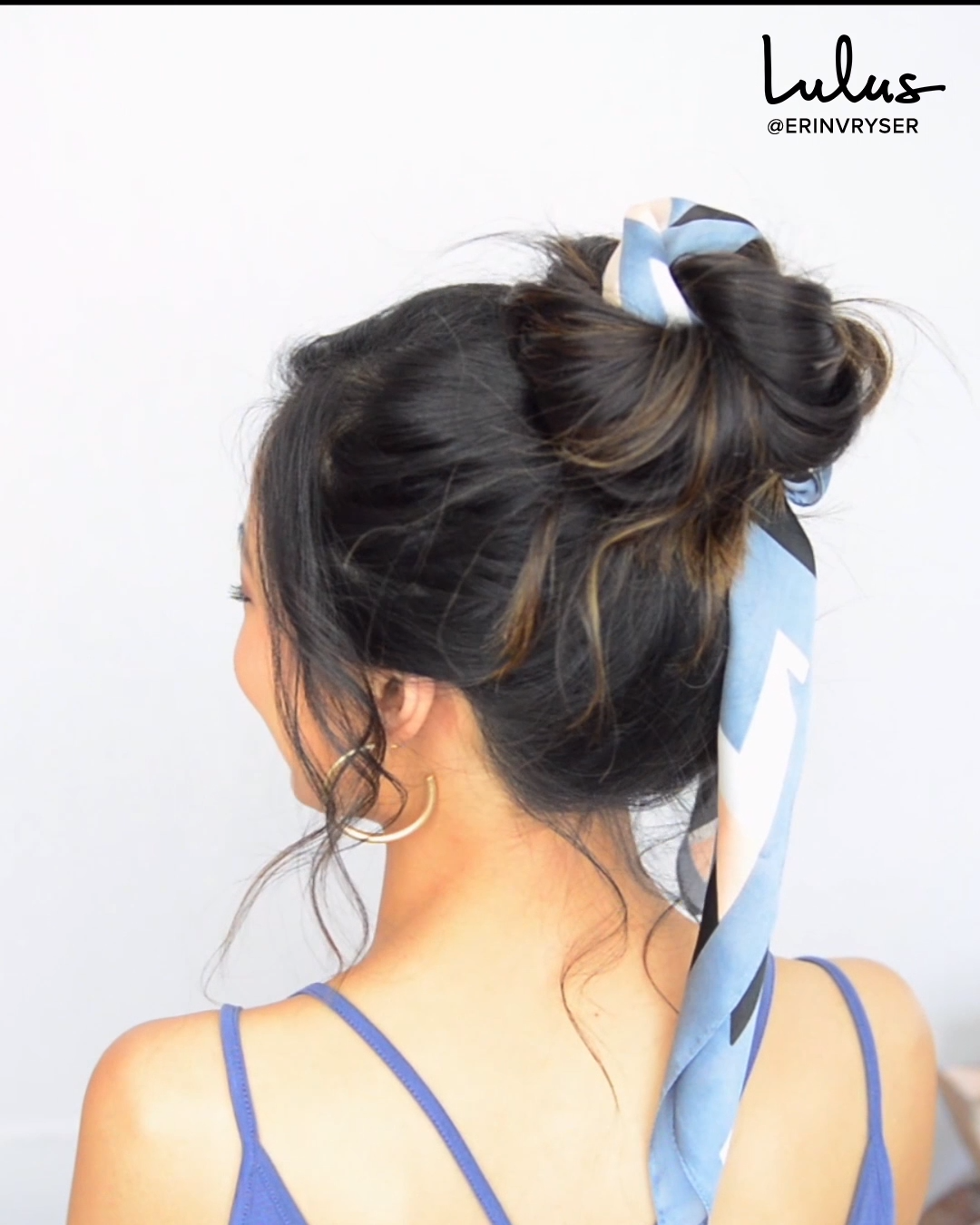 Need a Playful, Effortless Hairstyle? Try a Messy Bun with a Hair Scarf (It's Super Easy!)