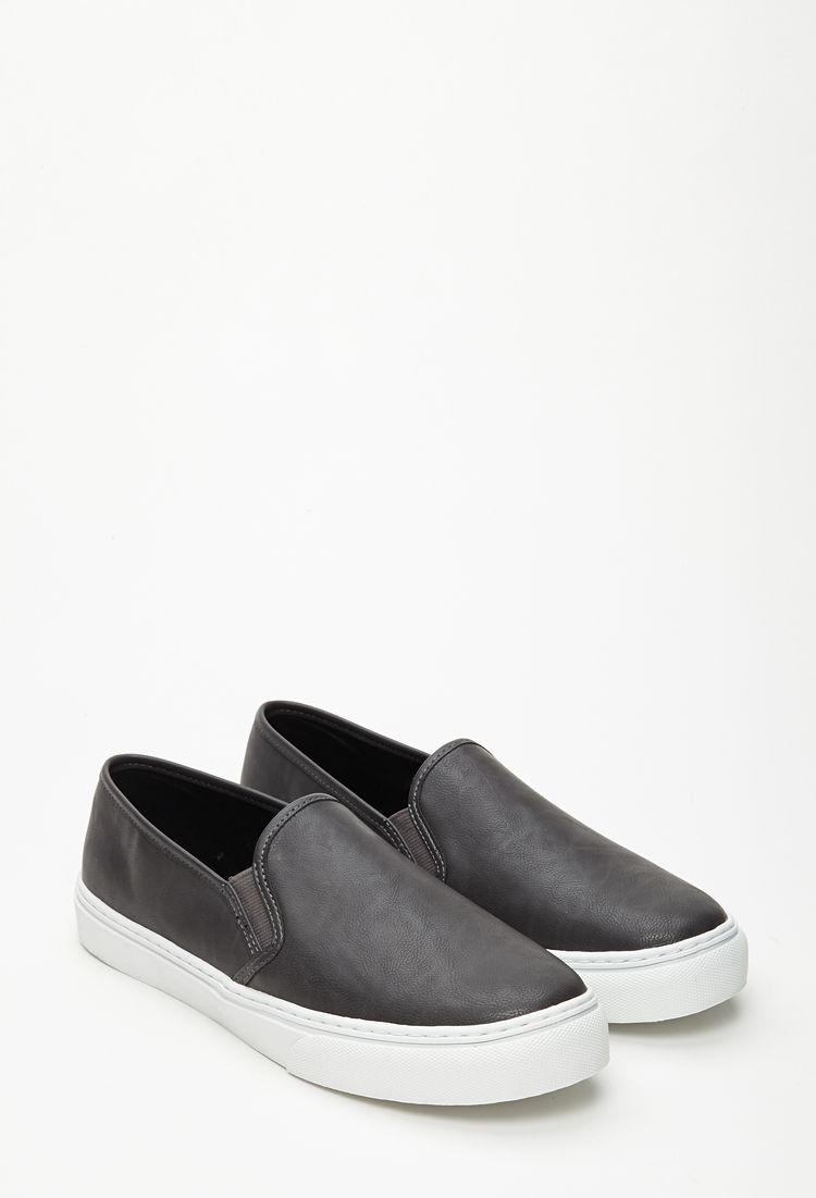 Faux Leather Slip-Ons   Trendy womens