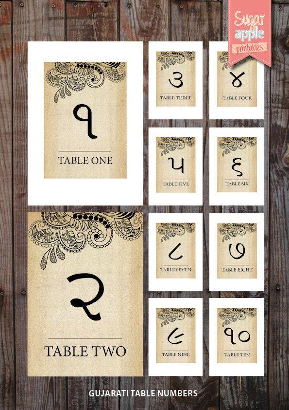 Printable Table Numbering Indian Weddings Vintage Theme Gujarati Wedding Numbers 1 10