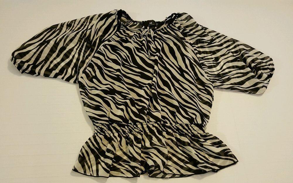 1ec22867427 IZ Amy Byers Girls Zebra Print Sheer Top w  Black Tank Size XL 16 Polyester  in Clothing