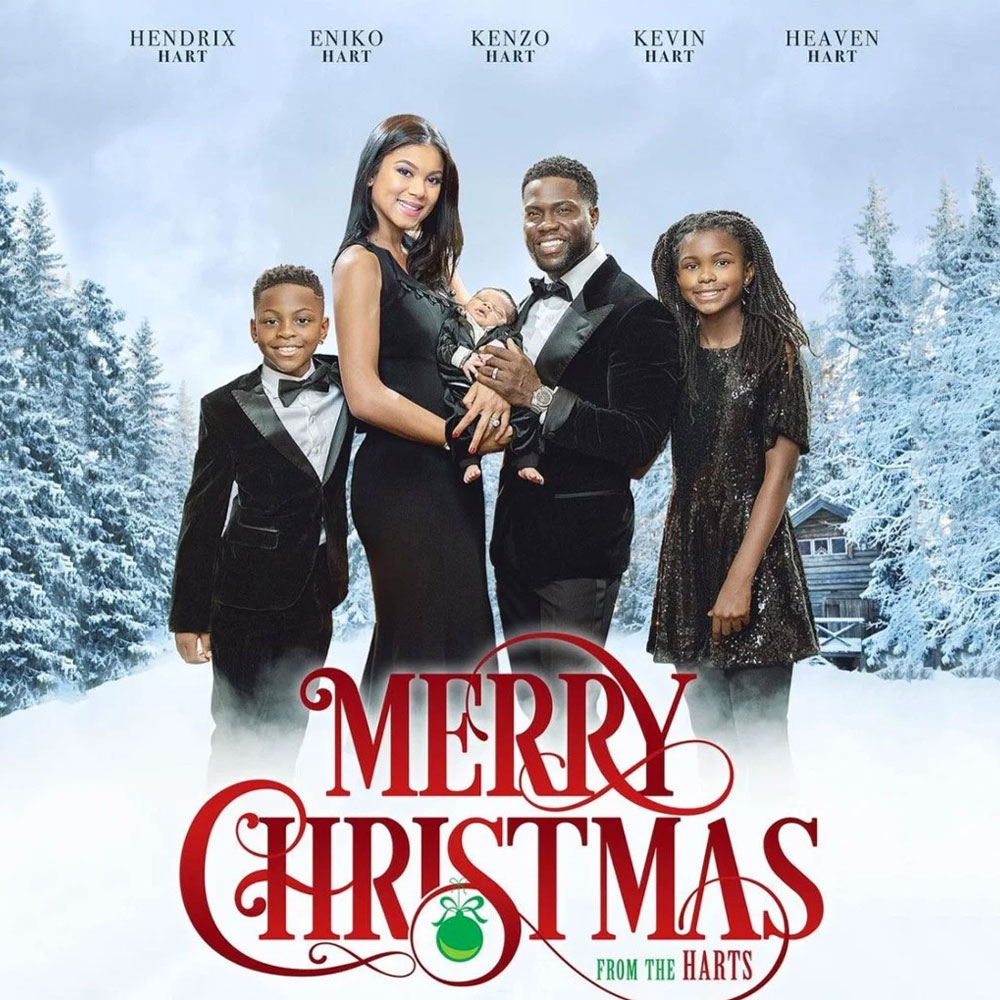 Season S Greetings Holiday Cards From The Most Festive Celebrities Over The Years Popular Everythi Family Christmas Cards Christmas Family Photos Kevin Hart