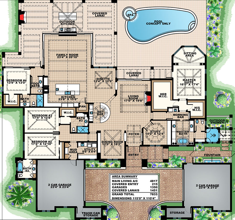 Mediterranean Home Floor Plans: Plan 66359WE: Super-Luxurious Mediterranean House Plan