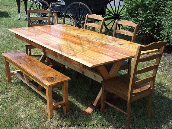 Reclaimed Wood Dining Table  X Base trestle Rustic by IADECOR, $1249.00....i think i need