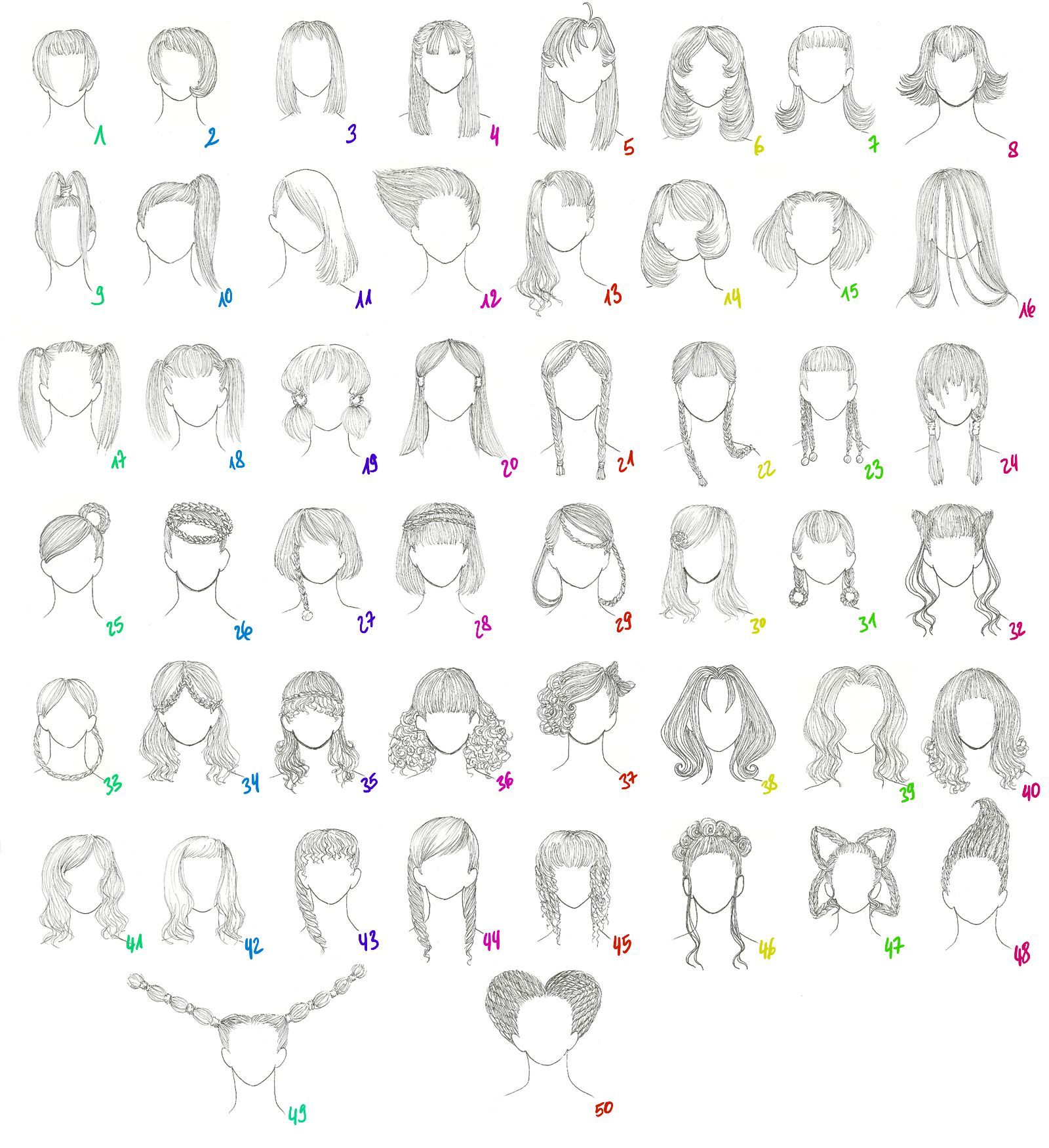 50 Female Anime Hairstyles By Anaiskalinin On Deviantart Female Anime Hairstyles Manga Hair Anime Hair