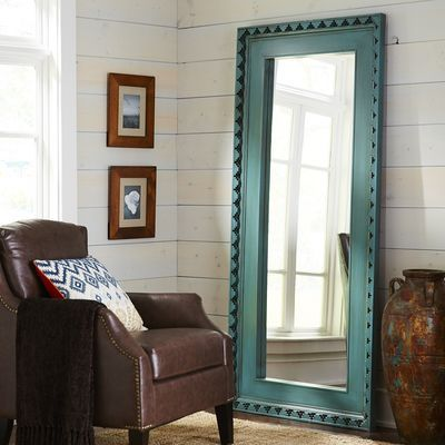 Smoke Blue Wood Framed Floor Mirror | Floor mirror and Blue floor