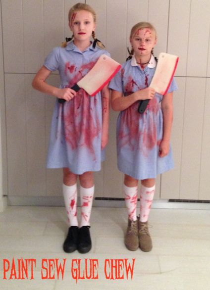 easy to make diy halloween costume the creepy twins from the shining instructions from paint sew glue chew