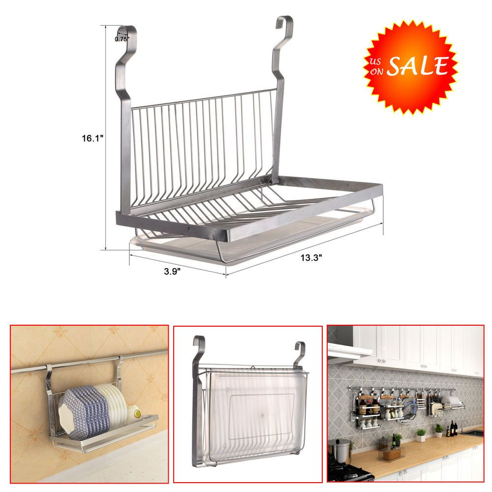 stainless steel dish drying rack drainer counter sink space movable drain board esylife. Black Bedroom Furniture Sets. Home Design Ideas