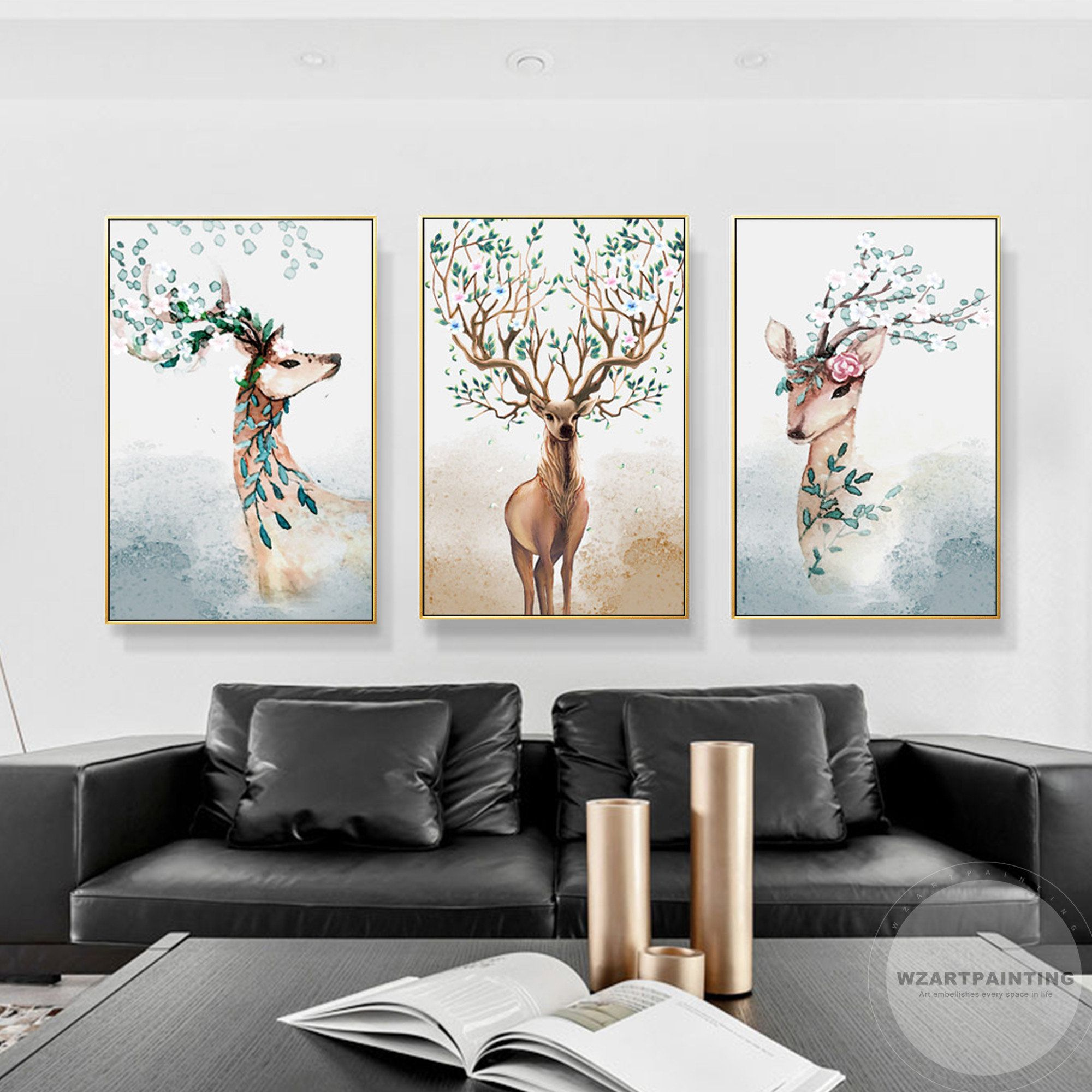 Framed Wall Art 3 Pieces Deer Animal Green Leaf Print Painting Etsy In 2020 Wall Art Pictures Canvas Painting Large Wall Art