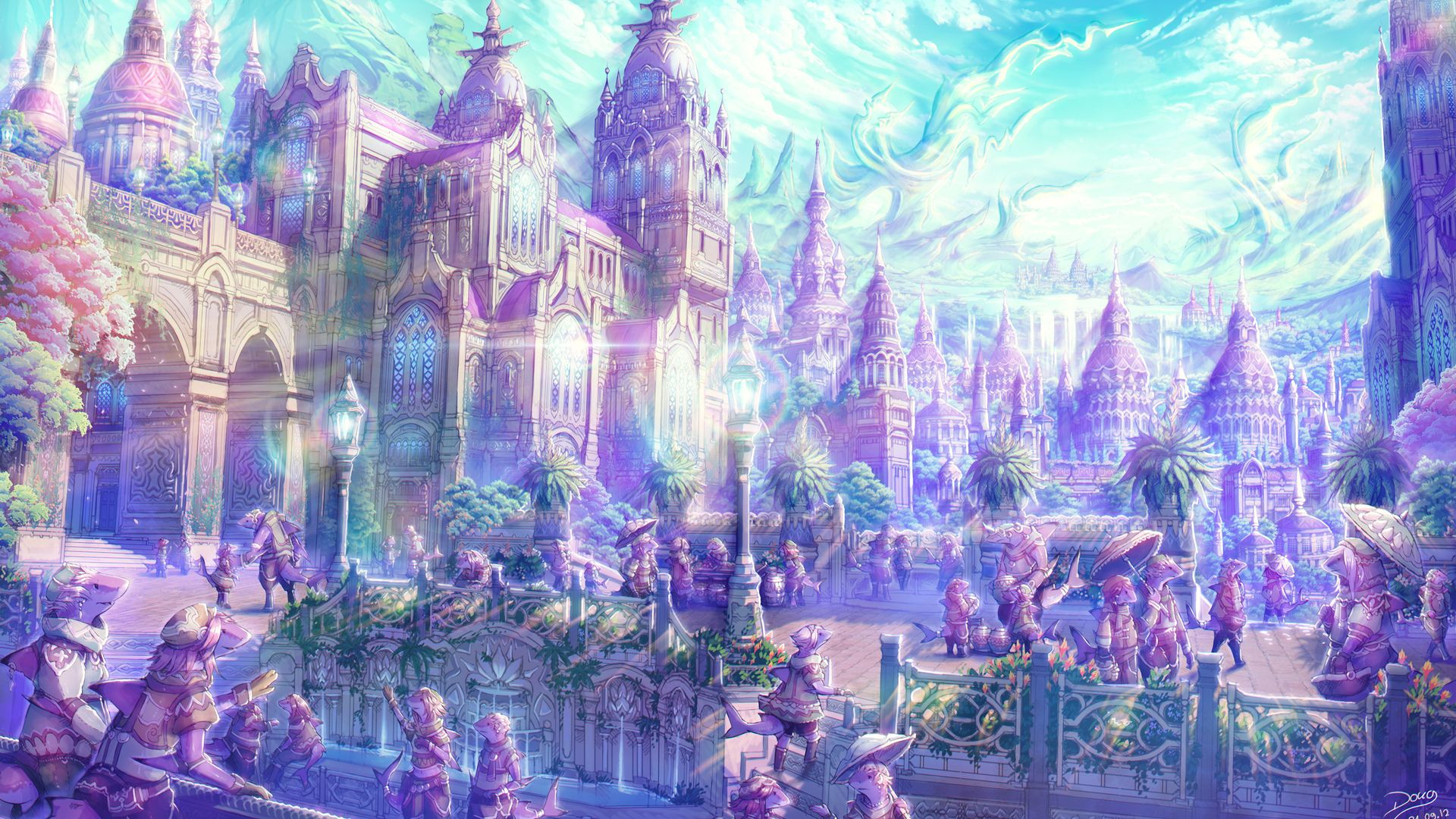 Anime Artistic Cities Fantasy Soft Castles Landscapes Places Magical Wallpaper 1920x1080 23877 Wallpa Landscape Wallpaper Fantasy Landscape Anime Scenery